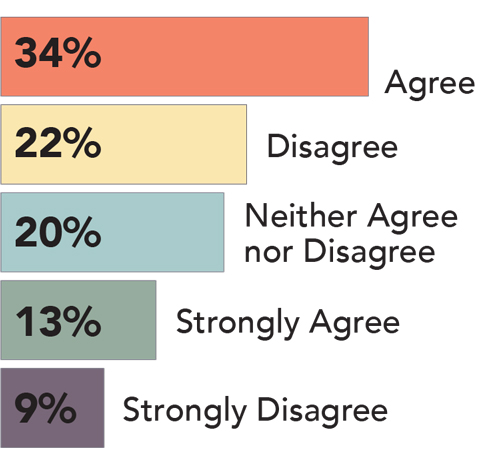 34% Agree, 22% Disagree, 20% Neither Agree nor Disagree, 13% Strongly Agree, 9% Strongly Disagree