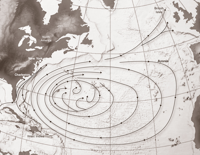 Map of Atlantic Ocean currents shows trade winds that carry ships to Charleston.