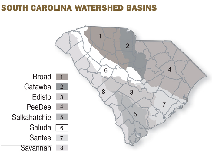 A map showing South Carolina's 8 watershed basins.