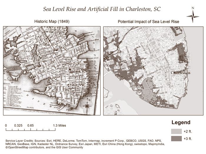 Map of the Charleston peninsula comparing land in 1849 with the expected impacts of sea-level rise in the modern era.