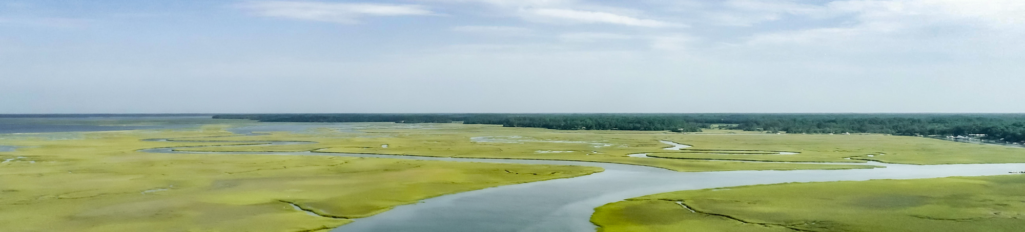 Aerial view of an estuary system.