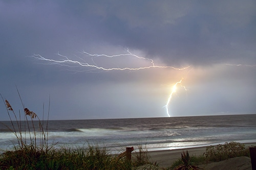 Lightning over Folly Beach.