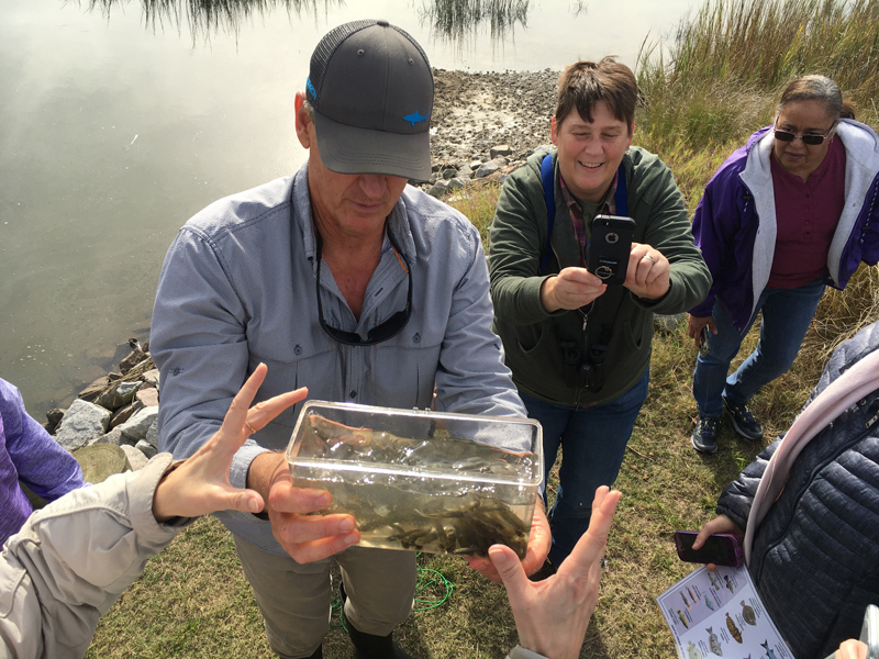 An educator shows a container of water with small fish to a group of onlookers.