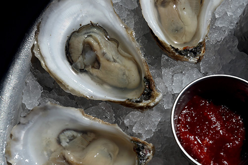 Oysters on a plate.