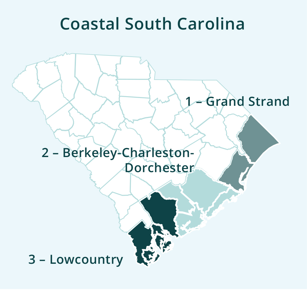 A map of South Carolina shows the coastal areas: the Grand Strand in the north of the state, Berkeley-Charleston-Dorchester in the middle, and the Lowcountry in the south.